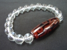 9-eye Dzi with Clear Bead Bracelet