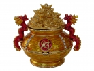 Bejeweled Wealth Pot with Dragons