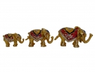 Set of 3 Bejeweled Elephant Statues