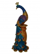 Bejeweled Lovely Peacock on Pedestal