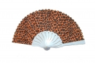 Leopard Style Hand Fan with White Slab