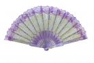 Colorful Slab Lace Folding Fan with Auspicious Symbol