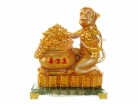 Golden Monkey Statue with Big Wealthy Pot
