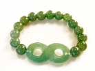 Chinese Jade Beaded Bracelet with Infinity Symbol
