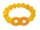Orange Color Jade Beaded Bracelet with Infinity Symbol