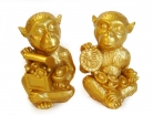 Pair of Golden Wealth Monkeys