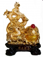 Golden Dragon Statue with Wealthy Pot
