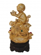 Golden Monkey with Wealth Pot on Rotatable Stand