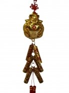 New Year Charm - Wealthy God with Lucky Firecrackers