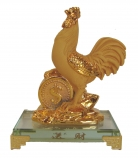 Rubber Finished Golden Rooster Statue with Big Coin