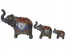 Set of 3 Silver Gray Elephant Statues
