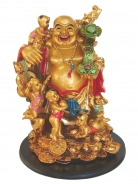 Big Golden Laughing Buddha Statue with 5 Boy Children