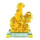 8 Inch Golden Rubber Finished Rooster Statue with Money Pot