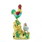 Happy Rooster and Hen Family