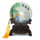 Genuine Jade Display Plate with Bamboo Picture and Stand