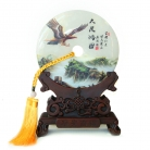 Genuine Jade Display Plate with Peng Bird Picture and Stand