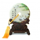 Genuine Jade Display Plate with Crane Picture and Stand