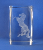 Laser Engraved 3D Horse in Crystal Glass Cube