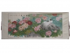 Big Horizontal Peony Flower Scroll Picture