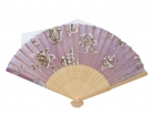 Natural Wooden Slab Folding Hand Fan with Picture of Rose