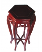 Hexagon Wood Tall Curved-Legged Plant Stand in Cherry Finish