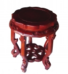 Round Wood Short Curved-Legged Plant Stand in Cherry Finish