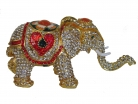 Bejeweled Cloisonne Elephant Statue with Trunk Up for Good Luck