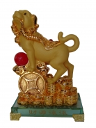 Golden Dog Statue Stepping on Big Chinese Coin