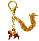Bejeweled Red Horse Keychain Amulet