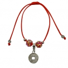 Red Bracelet with Dangly Coin