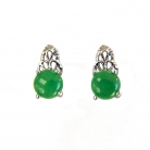 Round Jade Stud Earrings