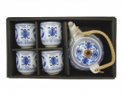 Chinese Style Blue Tea Set with Longevity Symbol