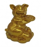 Small Golden Pig Statue Holding Coin