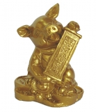 Golden Pig Statue Holding Scroll