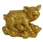 Golden Pig Statue Stepping on Ingots