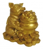 Golden Pig Statue Holding Money Pot