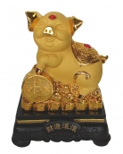 8 Inch Golden Pig Statue w/ Money Coin