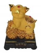 8 Inch Golden Pig Statue w/ Pineapple