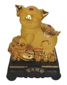 8 Inch Golden Pig Statue w/ Bai Choi to Booth Business Luck