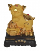 8 Inch Golden Pig Statue w/ Wealthy Pot