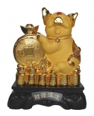 15 Inch Big Golden Pig Statue w/ Chinese Coin