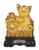 15 Inch Big Golden Pig Statue w/ Money Bag