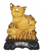 15 Inch Big Golden Pig Statue w/ Treasure Pot