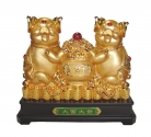 23 Inch Two Big Golden Pig Statues Carrying Wealthy Pot