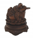 Money Toad Statue Sitting on Coins and Lotus