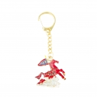 Bejeweled Flying Wind Horse Keychain Amulet