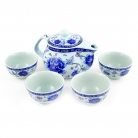 Chinese Style Blue Porcelain Tea Set