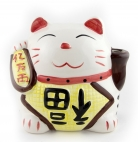 White Porelain Money Lucky Cat Statue