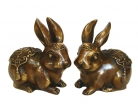 Pair of Big Copper Rabbit Statues