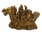 Copper Eight-Immortal on Dragon Boat Statue